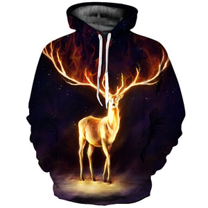 Cool Elk Pattern Hooded Sweatshirt Coat