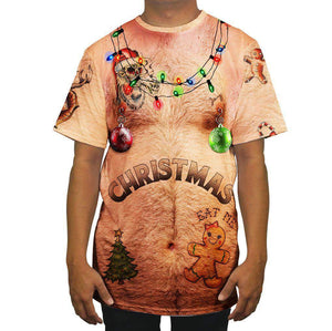 Hairy Chest Funny Ugly Christmas Men Short Sleeve T-Shirt Tees Tops