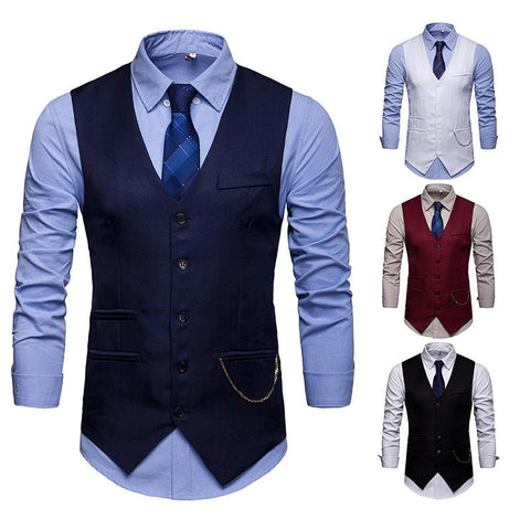 Fashion Men's Solid Color Suit Vest Waistcoat