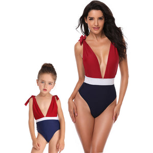 39f665490b582 Parent-child Swimsuit Family Matching Swimwear One Piece Swimsuit