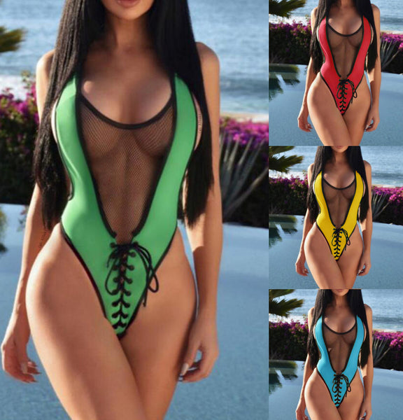 Sexy Cross Back Mesh Gauze Lace up Women One-piece Swimsuit Bikini Swimwear Bathing Suit