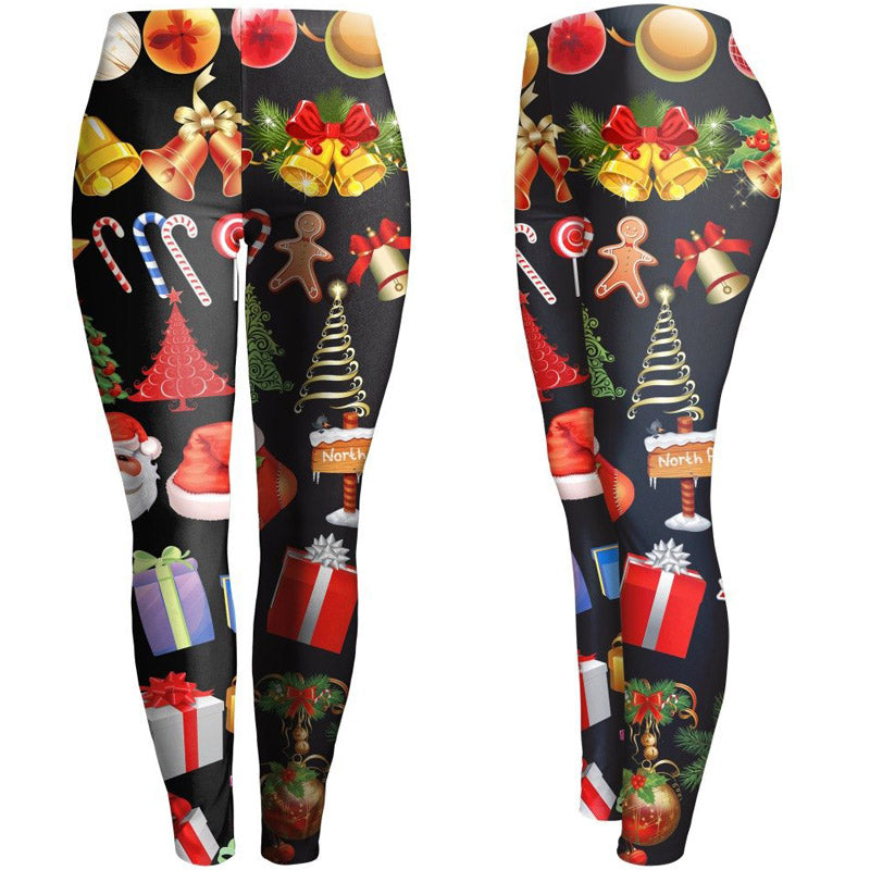 Christmas Slim Leggings Women's Hip Pants