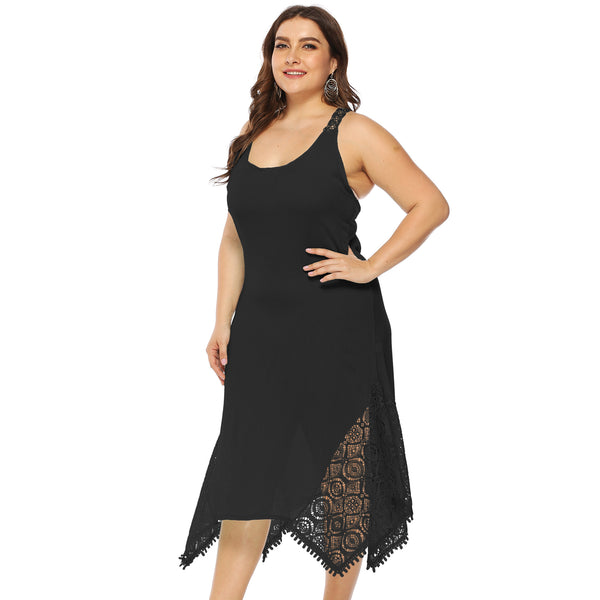 Plus Size Halter Open Back Irregular Lace Stitching Dress