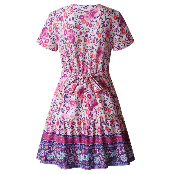 Retro Print V-neck Lace Short Sleeve Dress