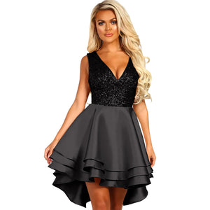 Sexy Sleeveless V-neck Patchwork Cocktail Dress Women Gold Sequin Multi Layer Party Club Skater Dress