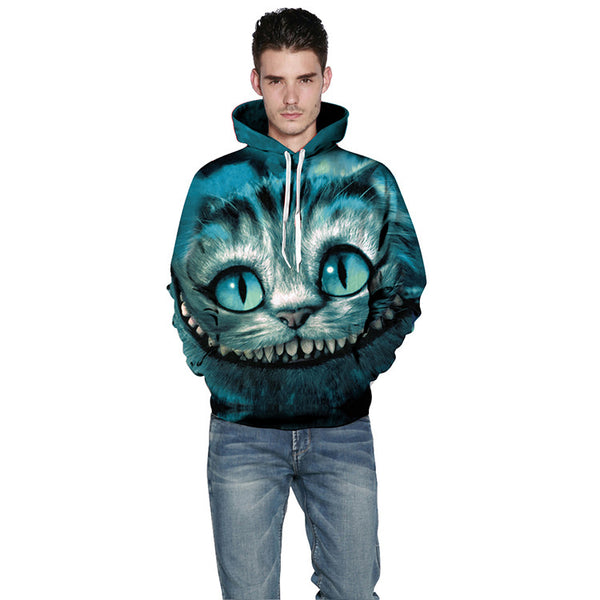 Loose Variation Cat Digital Print Hoodie