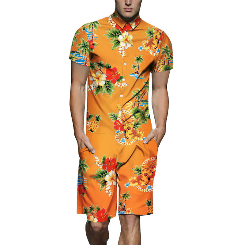 Men's Floral Coconut Print Short-Sleeve Shirt One Piece Romper