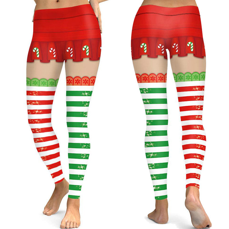 Christmas Print Sports Slim Tights Leggings Yoga Pants