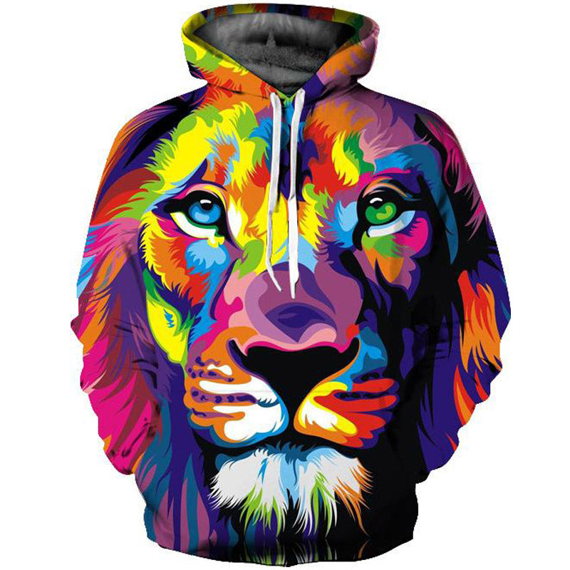 Star Lion Print Pullover Hoodie
