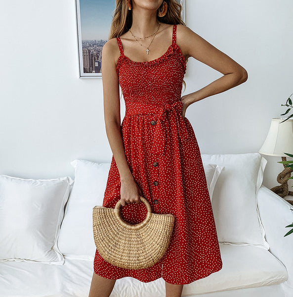 Buttons Embellished Tiny Point Cami Dress