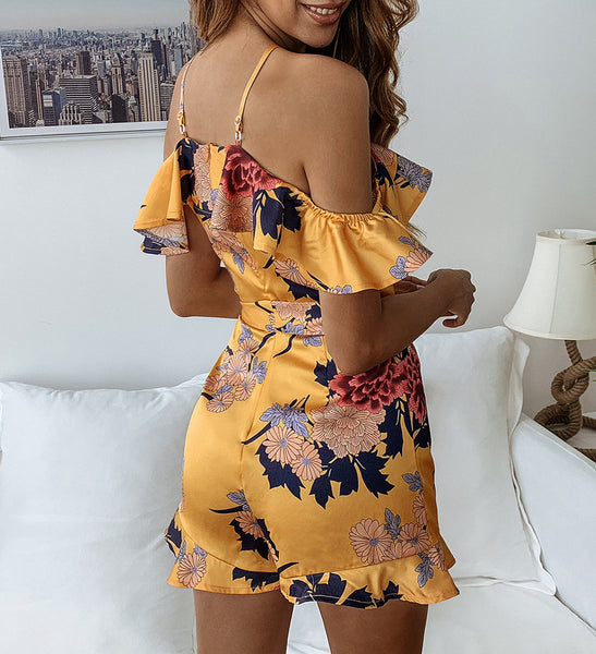 Sexy Sling Print Halter Ruffled Lace-up Jumpsuit