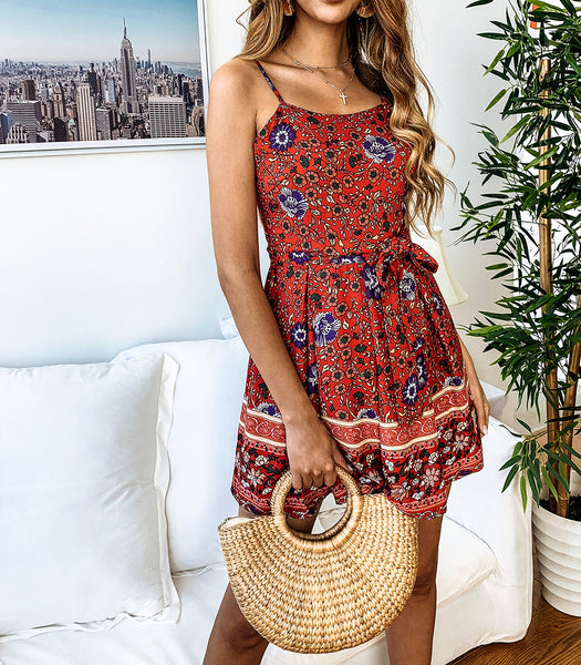 2019 Fashion Print Lace-Up Women's Jumpsuit