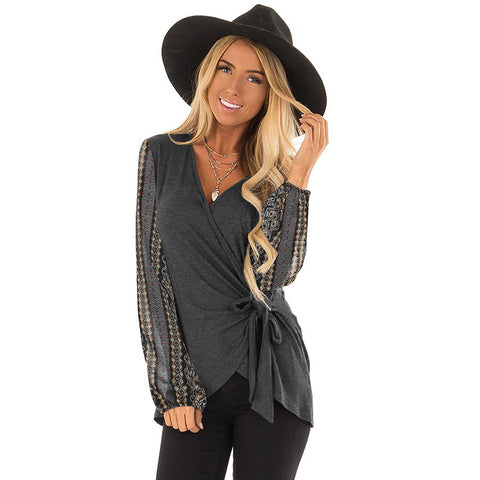 V-neck Belt Print Puff Sleeves Slim Shirt