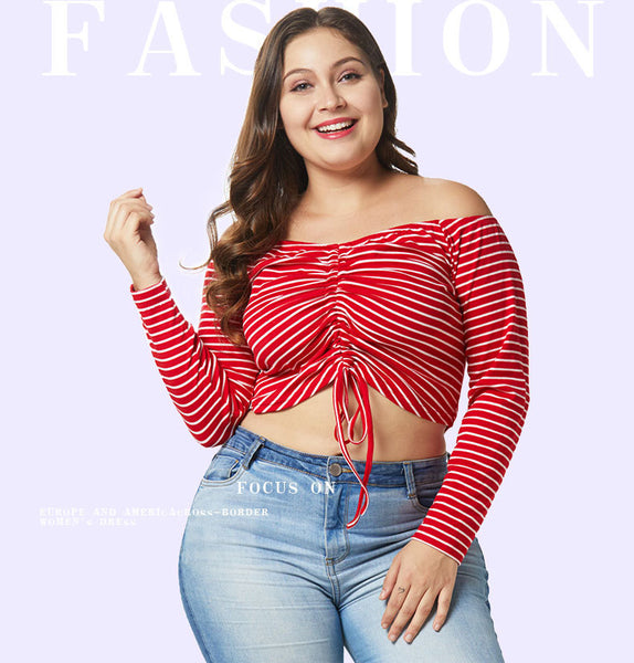 Plus Size Drawstring Ruched Crop Top