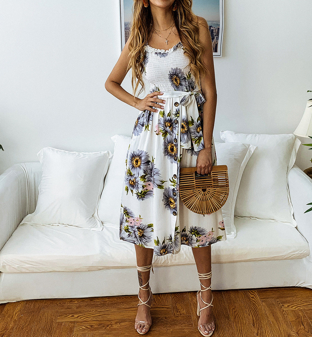 Button Sunflower Print Midi Dress