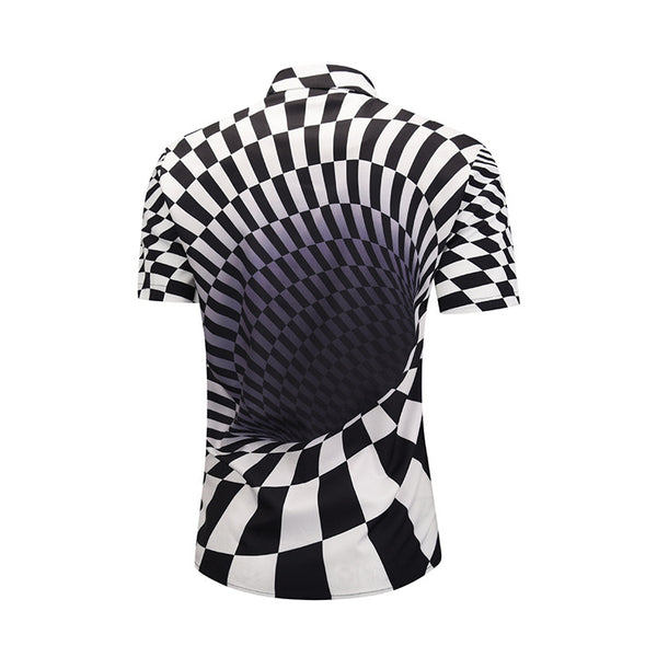 Contrast Checked Swirl Print Short Sleeve Shirt