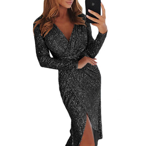 Sexy Sequined V-neck Long Sleeve High-waist Formal Dress