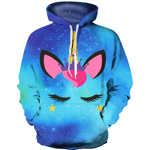 Cute Galaxy Unicorn Print Hoodie Sweatshirt Jacket Sweater