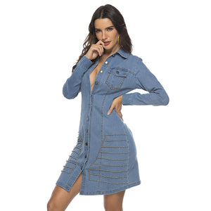 Women Slim Hip Ripped Rivet Button Denim Jean Dress Jacket Outerwear