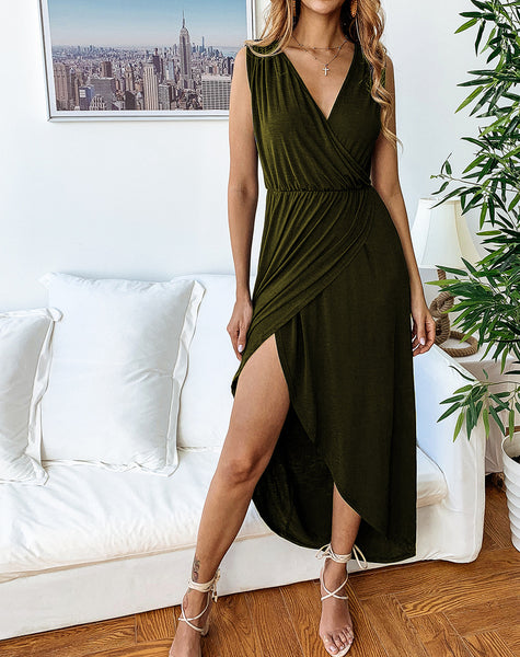 Fashion Casual Wild V-neck Irregular Side Split Dress