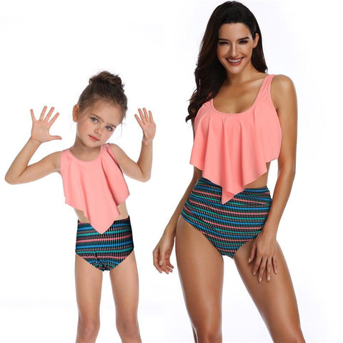Parent-child Swimsuit High Waist Ruffle Bikini