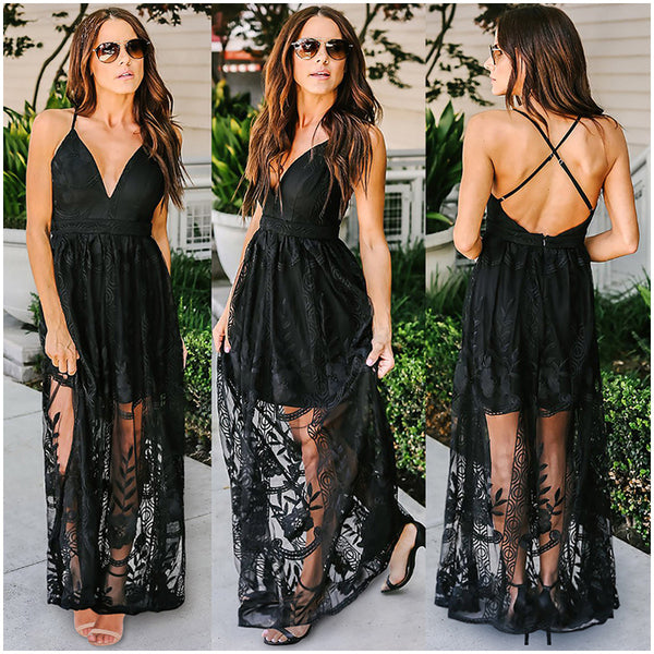 Deep V Open Back Lace Sling Perspective Dress