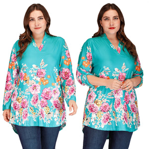 Plus Size High Low Floral Print Maxi Blouse
