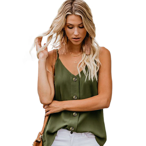 Sexy Sling V-neck Vest Solid Color Loose T-shirt