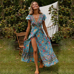 Bohemian V-neck Beach Laced Printed Maxi Dress