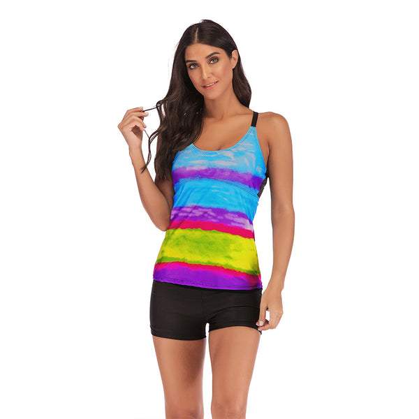 Women's Plus Size Rainbow Printed Sexy Tankini Set