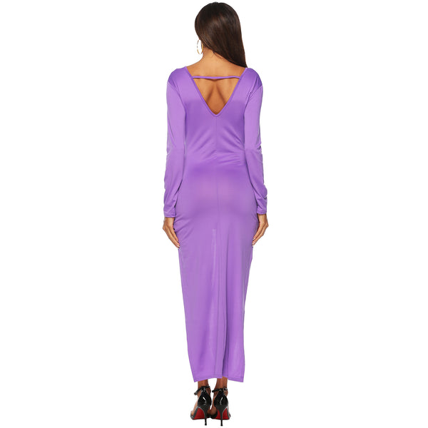 Solid Color Irregular Sexy Deep V Open Back Dress
