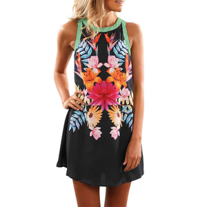 Round Neck Sleeveless Vest Print Dress