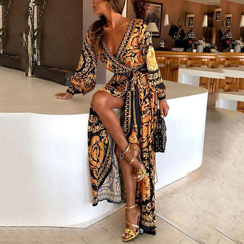Womens Boho V neck Floral Long Sleeve Floor Length  Maxi Dress
