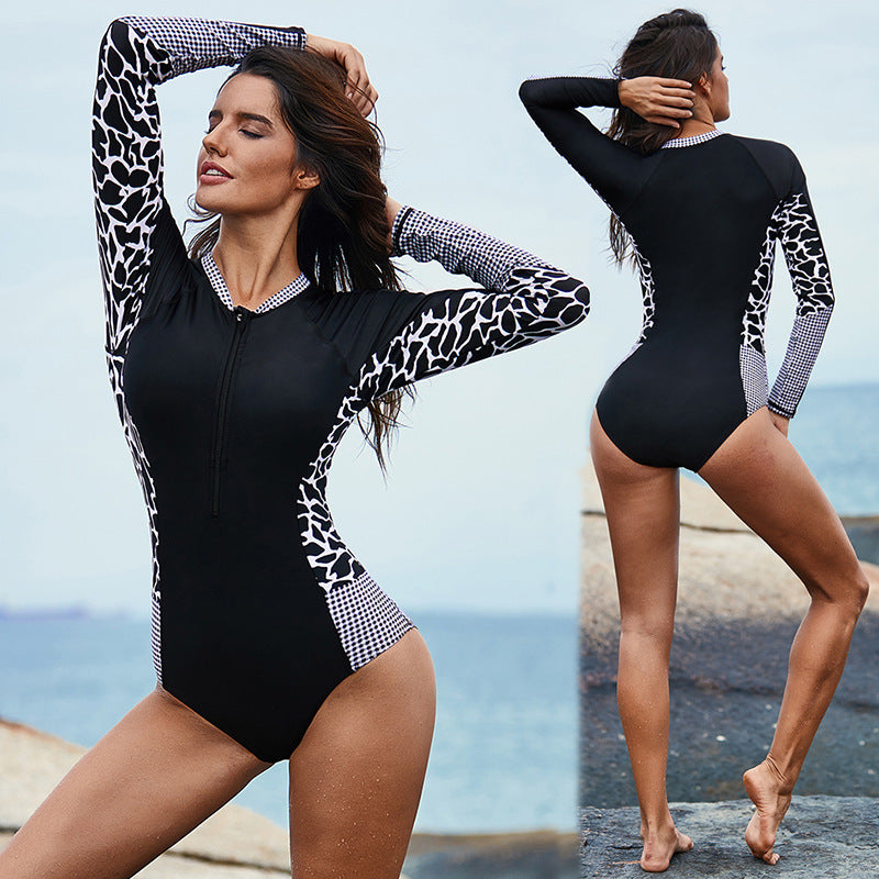 Leopard Print Long Sleeve Wetsuit and Surfing Swimsuit