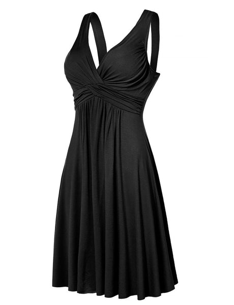 Women Elegant Deep V-neck Dress Knee Length Backless Evening Dresses