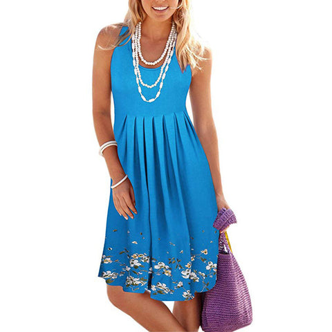 Women Crew Neck Beach Floral-Print Dresses