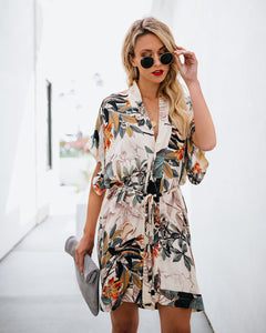 Fashion Loose Floral Print Waist Tie Short Sleeve V Neck Mini Dress