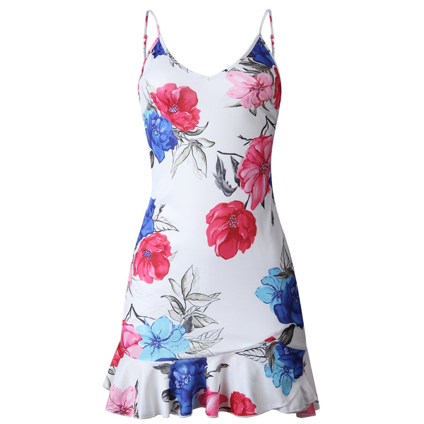 Printed V-neck Ruffled Irregular Women's Dress