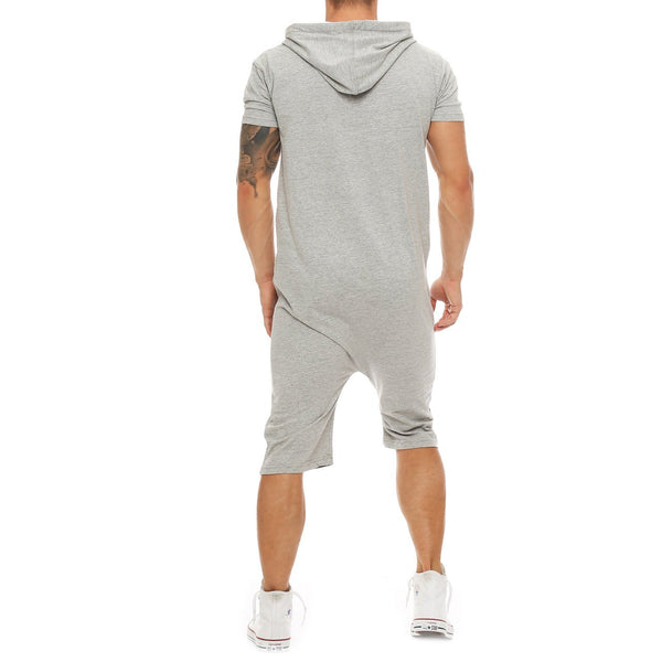 Men's Casual Hooded One Piece Sweatshirt Rompers