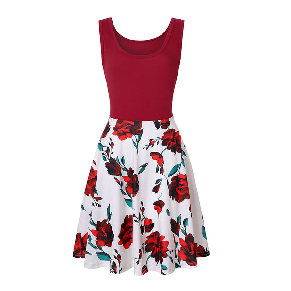 Women Round Neck Printed Patchwork Sleeveless Mini Dress