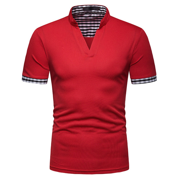 Men's Fashion Henry Collar Plaid Color Men's Short Sleeve POLOT Shirt
