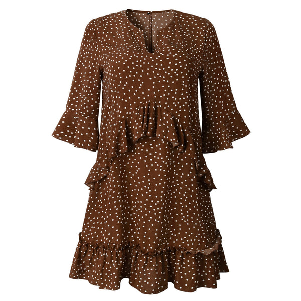 Women's V Neck Ruffle Polka Dot Pocket Loose Swing Casual Short T-Shirt Dress