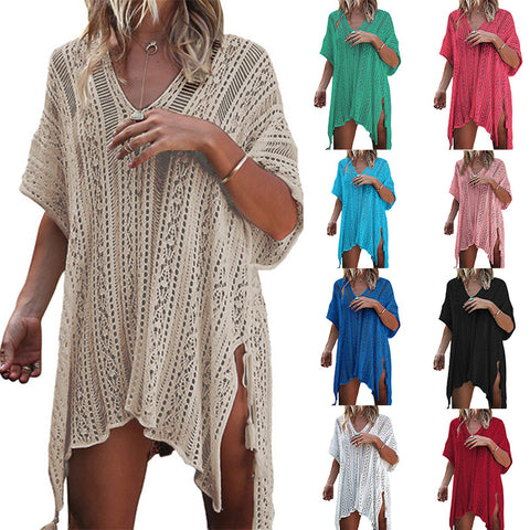 V Neck Tassels Crochet Cover Up