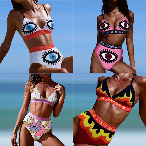 2019 Sexy Eye Print High Waisted Patchwork Bikini Set