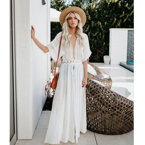 Lace Tie Rope Sunscreen Bikini Beach Cover Up Dress