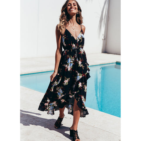 Women V-neck Sling Print Swallowtail Dresses