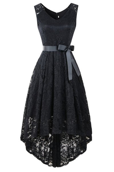 Women's Elegant V-Neck Vintage High Low Sleeveless Floral Lace Cocktail Party Swing Dress