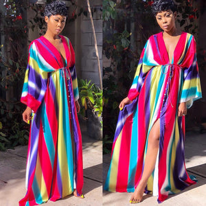 Lace-up Split Long Bikini Coat Rainbow Striped Beach Shawl