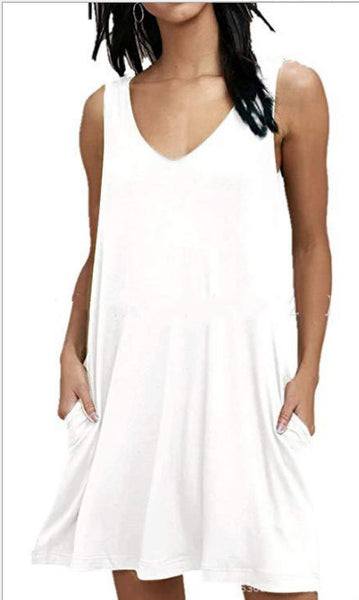 Summer Casual T Shirt Dresses Beach Cover up Plain Pleated Tank Dress