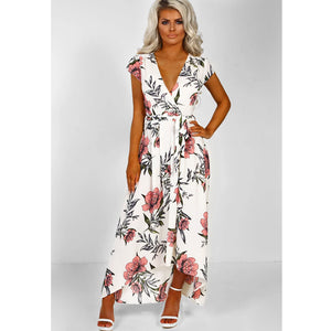 Short Sleeve V-neck Printed Beach Dress With Belt